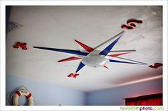 Nautical nursery compass rose ceiling