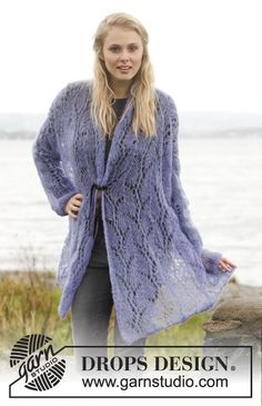 "Over-sized jacket with #lace pattern and shawl collar in ""Vivaldi"" #knit"