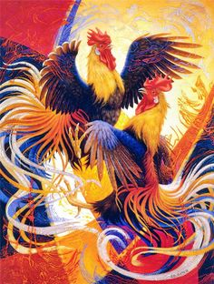 Ilene Meyer was a self-trained oil painter whose work combines realism, fantasy, surrealism, and psychedelic colours and patterns. Her art was used on the cover of books by science fiction writers, including Philip K… View Post Rooster Painting, Rooster Art, Chicken Painting, Chicken Art, Cartoon Rooster, Rooster Tattoo, Paint Fight, Psychedelic Colors, Magic Realism
