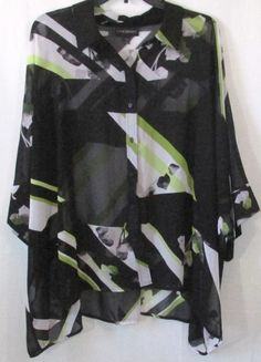 Lane Bryant Plus Size Black Yellow and White Sheer Cover Up Blouse, Size 18/20 #LaneBryant #Blouse