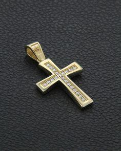 Σταυρός βάπτισης χρυσός Κ14 με Ζιργκόν Cross Jewelry, High Jewelry, Gold Jewelry, Jewellery, Christening Decorations, Jesus Piece, Jesus Art, Christian Jewelry, Gold Cross