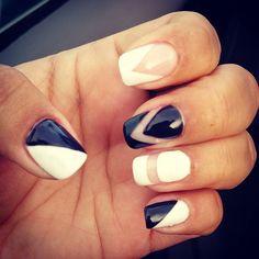 New design! #gelnails #negativespacenails #blackandwhitenails #mymanicuristisbetterthanyours #jemcynthia #jemsnailsandbeautybar