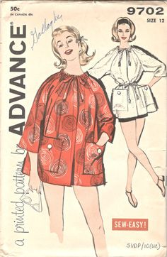 Advance 9702 1960s Misses Sew Easy Beach Coat Cover Up Pattern by mbchills