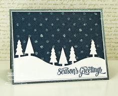 Cheerful Christmas Greetings; Tree Lines Die-namics; Swiss Dots Stencil - Debbie Carriere