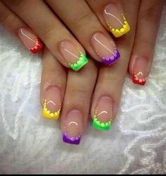 french nails with a twist Messy Buns Summer French Nails, French Tip Nails, Summer Nails, Spring Nails, French Pedicure, French Tips, Winter Nails, Rainbow Nails, Neon Nails