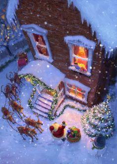 Merry Little Christmas, Vintage Christmas Cards, Christmas Love, Retro Christmas, Christmas Carol, Christmas Pictures, Winter Christmas, Father Christmas, Christmas Scenery