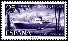 Ocean liner, printed by photogravure, and issued for use in Fernando Po(o) on July 10, 1962 to benefit children's welfare funds, Scott No. 196.