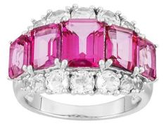 4.91ctw Emerald Cut Pure Pink(Tm) Topaz With 1.49ctw Round White Topaz Sterling Silver Ring