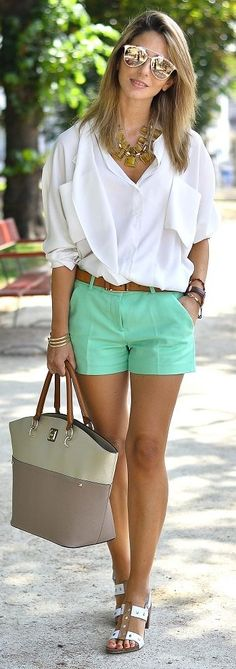 Ma Petite By Ana White Blouse Green Mint Shorts