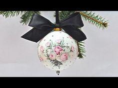 Decoupage krok po kroku - łatwa bombka z różami vintage - YouTube