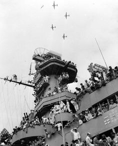 B-29 bombers flew in formation over battleship Missouri, during the Japanese surrender ceremonies, 2 Sep 1945