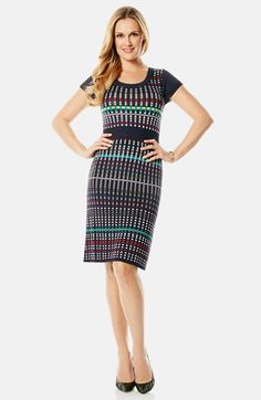 Laundry by Shelli Segal Laundry by Shelli Segal Graphic Jacquard Sweater Dress (Regular & Petite) available at #Nordstrom