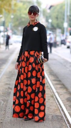 #Milan #Fashion #Week FW'15 #streetstyle black/Red dress