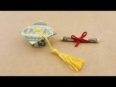 In this video, I'll provide instructions on how to fold a dollar origami graduation cap & diploma. This money origami graduation gift idea requires 2 dollar . Origami Bowl, Origami Star Box, Origami Paper Art, Origami Easy, Dollar Bill Origami, Money Origami, Money Lei, Folding Money, Origami Folding