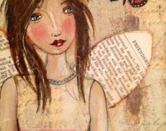 Original angel mixta tarjetas papelería por JaneLazenbyartist