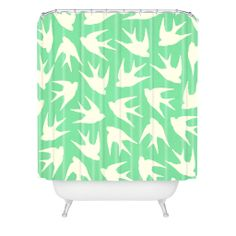 Jacqueline Maldonado Birds Celadon Shower Curtain | DENY Designs Home Accessories