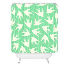 Jacqueline Maldonado Birds Celadon Shower Curtain   DENY Designs Home Accessories