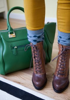 Fall booties with socks and colored leggings #HUELovesShoes