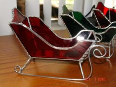 Stained Glass Santa Sleds  Mid Sized by twillobee on Etsy, $35.00