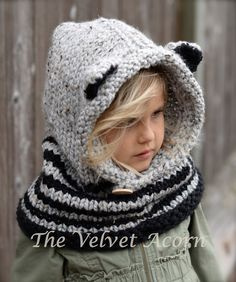 Knitting PATTERN-The Ryder Raccoon Cowl 12/18m by Thevelvetacorn