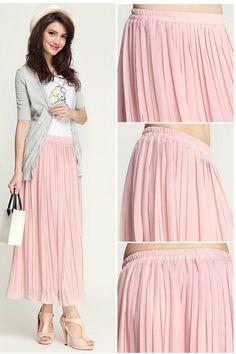 Pink Pleated Maxi Skirt, iAnyWear