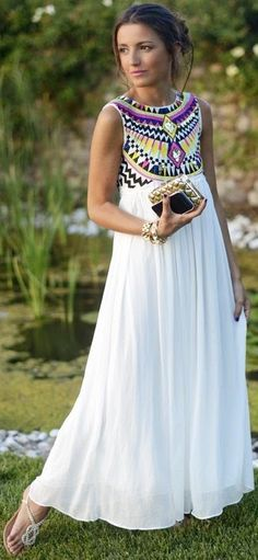 Stylish Long White Maxi Dress