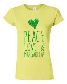 Peace Love And Margaritas Fun Drinking Margarita Loving parrot Head Fans T Shirt Margarita Up Tee