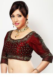 Maroon coloured embroidered, stitched saree blouse for women by Salwar Studio. It is Made from chanderi silk.