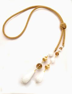 Parigino Rope Necklace - White and gold