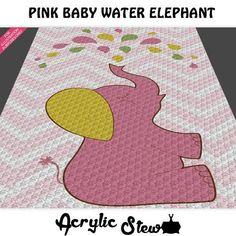 Baby Girl Graphgan Pattern - Corner to Corner - C2C Crochet - Baby Pink Water Elephant Chevron Blanket Afghan Crochet Graph Pattern Chart by Acrylic Stew, $4.99 USD