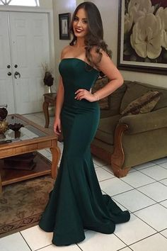 Green Mermaid Strapless Backless Simple Cheap Long Prom Dresses – Simidress