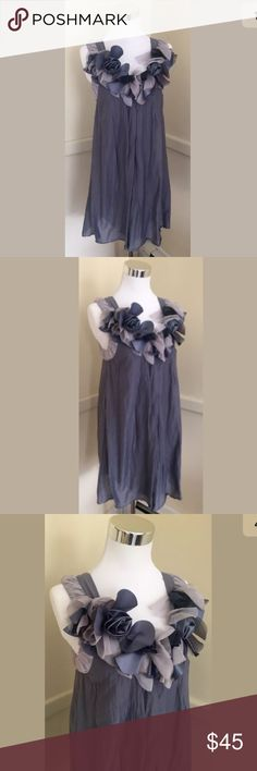 Anthropologie Mod Cloth Blue Petal Rosette Dress S RYU ANTHROPOLGIE Rosette dress size S. Length is 32 inches, and bust is 15.5 inches. Cotton blend. Yes, it is supposed to be wrinkled.. Ruffled satin flower collar. paid $128 for this dress, this is a stunner and a steal!  Smokey blue/ grey trim  in color. Anthropologie Dresses