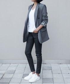 Grey longline blazer, white shirt, black skinnies