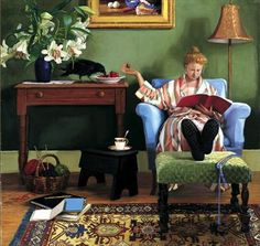 """""""Reading"""" by Kay Ritter (American, Contemporary) . I wonder if she's reading Poe Reading Art, Woman Reading, Love Reading, I Love Books, Good Books, Books To Read, My Books, Book People, Hans Christian"""