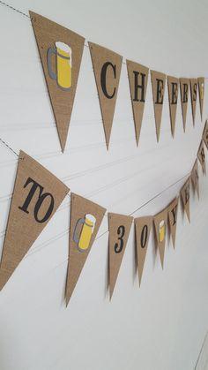 Cheers to 30 Years Birthday Banner Bunting Beer Mug