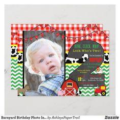 Barnyard Birthday Photo Invitation Girl 2nd Birthday, Dad Birthday Card, Farm Birthday, Birthday Thank You, 2nd Birthday Parties, Birthday Photos, Photo Invitations, Zazzle Invitations, Princess Birthday Invitations