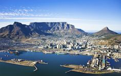 Cape Town Harbour and Table Mountain. Aerial view of Cape Town city centre, with , South Africa Tours, Cape Town South Africa, Table Mountain Cape Town, National Botanical Gardens, Town Names, Safari, Africa Travel, Aerial View, Marrakech