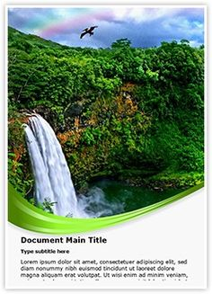 Waterfall And Rainbow Word Doent Template Is One Of The Best Templates By Editabletemplates