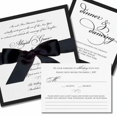 grace wedding invitation in black ink with black satin ribbon and optional reception card
