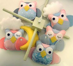 Baby Crib Mobile - Bay Mobile - Owls in the clouds - wooden hanger wool felt £65.00