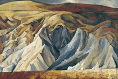 Doris Lusk's 1963 painting captures the austere quality of the Central Otago landscape, particularly where soil erosion has taken a toll. Nz Art, Art For Art Sake, Central Otago, New Zealand Landscape, New Zealand Art, Landscape Paintings, Landscapes, Public Art, Dory