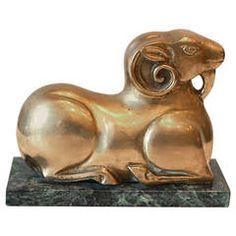 Art Deco Bronze Ram