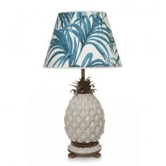 White porcelain pineapple lamp stand with brass detailing, paired with our 'Palmeral' print 'Daley' Lampshade in White / Green.The Palmeral print pays. Green Lamp Shade, Hanging Lamp Shade, Table Lamp Shades, Table Lamps, Unique Floor Lamps, Cool Lamps, Pineapple Lamp, Pinapple Decor, Pineapple Punch