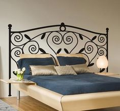 Headboards- Classic headboard design decoration feature above your bed. Headboard Decal, Wrought Iron Headboard, Iron Furniture, Furniture Design, Bedroom Stickers, Peaceful Bedroom, Steel Bed, White Decor, Home Decor Inspiration
