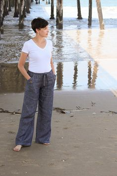 NOTE: THIS IS A PDF SEWING PATTERN, NOT A FINISHED ITEM. YOU ARE NOT PURCHASING AN ITEM OF CLOTHING AND NOTHING WILL BE SHIPPED TO YOU, THIS IS A DIGITAL FILE.  The Oceanside Pants or Shorts are an easy drawstring pant that can go from beachcomber casual to even be used as pajamas. Sew them in linen for a classic summer look or soft cotton for lounging around the house. With only 2 pattern pieces (and measurements for the self fabric drawstring), you can whip these up in no time at all…