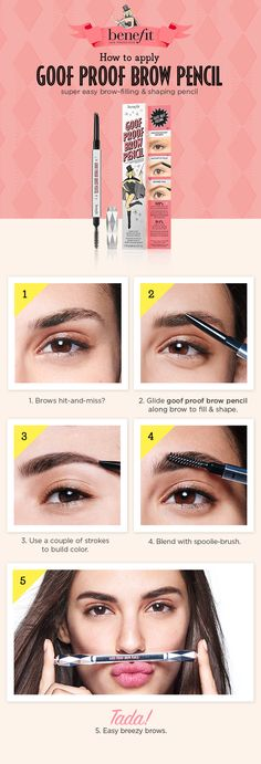 Benefit's Goof Proof Brow Pencil is designed to fit the angles of your arches and provides 12-hour, waterproof wear. The soft, glide on color creates naturally full beautiful brows and the spoolie brush effortlessly blends for a perfectly polished look. Available online and in stores at #Sephora.