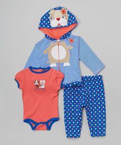 Another great find on #zulily! Blue & Peach 'Little Cutie' Bodysuit Set - Infant #zulilyfinds
