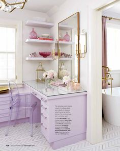 Tiffany Leigh Interior Design: Lilac and Gold/ built in vanity in Style at Home Magazine