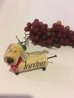 My dachshund never needs walking! Made to hang or stand on a shelf, hes sure to bring a smile. Pictured with a red bandana, but pink, blue and green available. Each unique.let me know your preference. No two alike.your cork or mine: ) Wine Cork Wreath, Wine Cork Ornaments, Wine Cork Art, Wine Corks, Snowman Ornaments, Wine Craft, Wine Cork Crafts, Wine Bottle Crafts, Wine Bottles