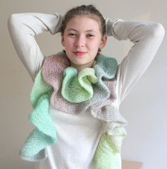 Spring green scarf, ruffle scarf, evening scarf, handmade scarf, accessory, ready to shipping. on Etsy, 18,61 €